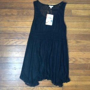 Nordstrom Lily White Black Lace Babydoll Top